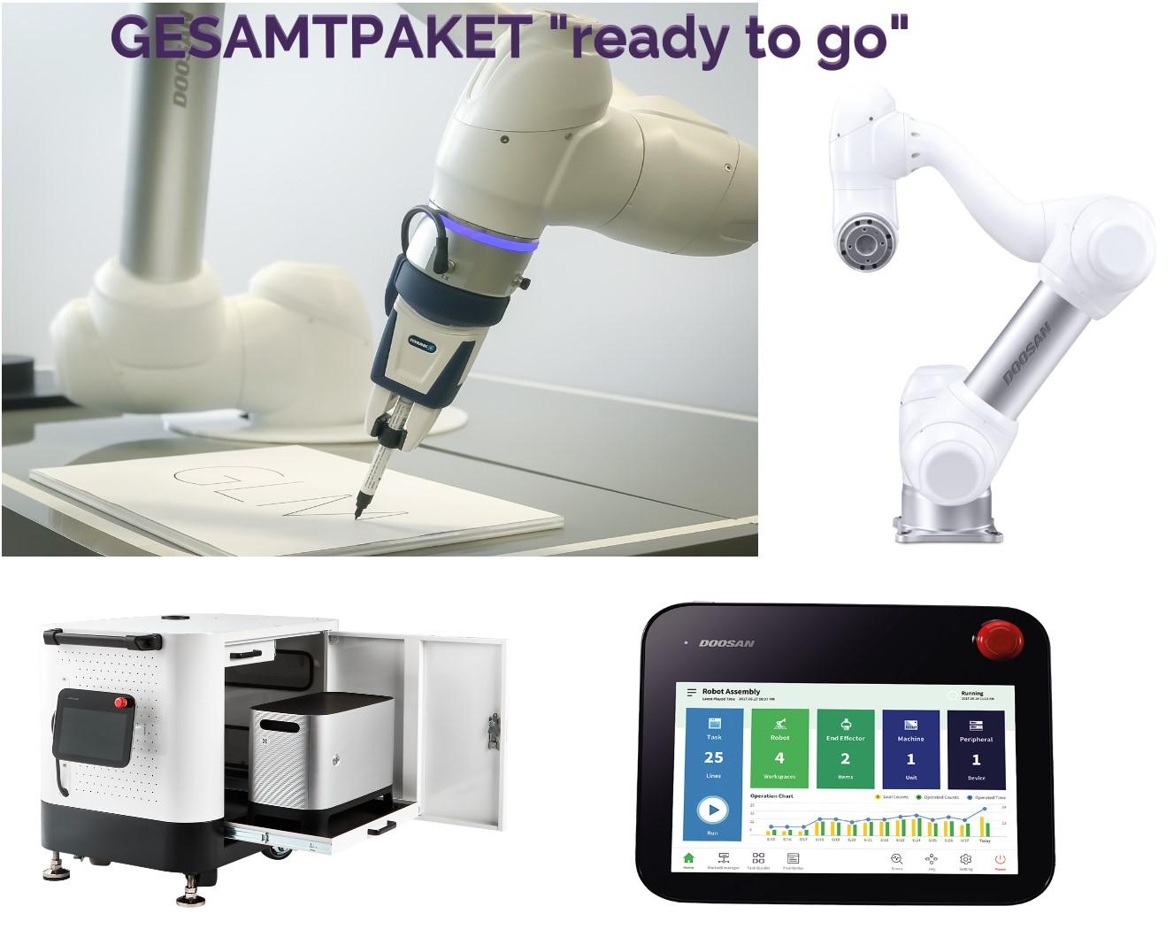 Sparpaket, Alles inklusive um gleich loszulegen. Roboterarm, Greifer, Roboterschulung, Bedienpanel, mobile Roboterbasis
