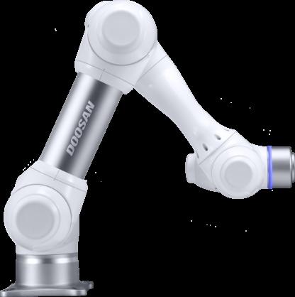 Doosan-Robotics-Deutschland Cobot m1506, 0,9m reichweite und bis 15kg Traglast, starker Leichtarmroboter Doosan, Cobot, EnBo, kollaborativer Roboterarm, der starke sichere Doosan-roboter,, MRK mit 6 Drehmomentsensoren, in allen Gelenken ein Drehmomentensensor, pick and place, handling, maschinenbeladung, verschrauben, cnc-maschine beladen, bestückung, kleben, löten, schweißen, seitliche nahaufnahme, gelenke, statusleuchte, flantsch, flansch